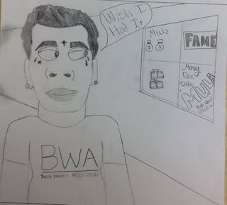 Artsonia galvez middle school statements i drew this because the song wish i had by kevin gates this song inspired me to draw this because i want buku dollars like he does altavistaventures Image collections