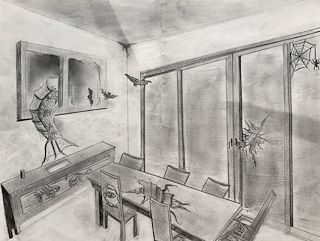 The Piece Meet Monsters Is A Scary Yet Surreal Drawling Of Room And Creepy Crawlers Are Trashing House Break Dinning